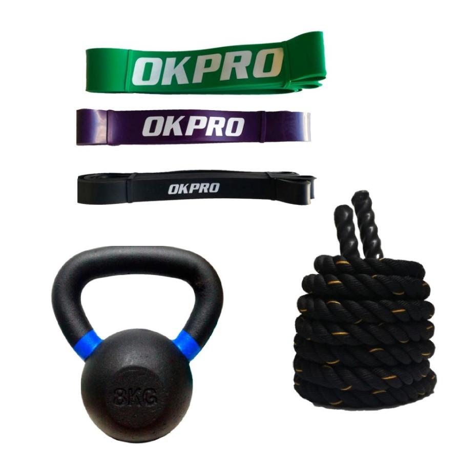 Pack Bandas Elásticas OKPRO, Kettlebells y Cuerda Batalla 9m