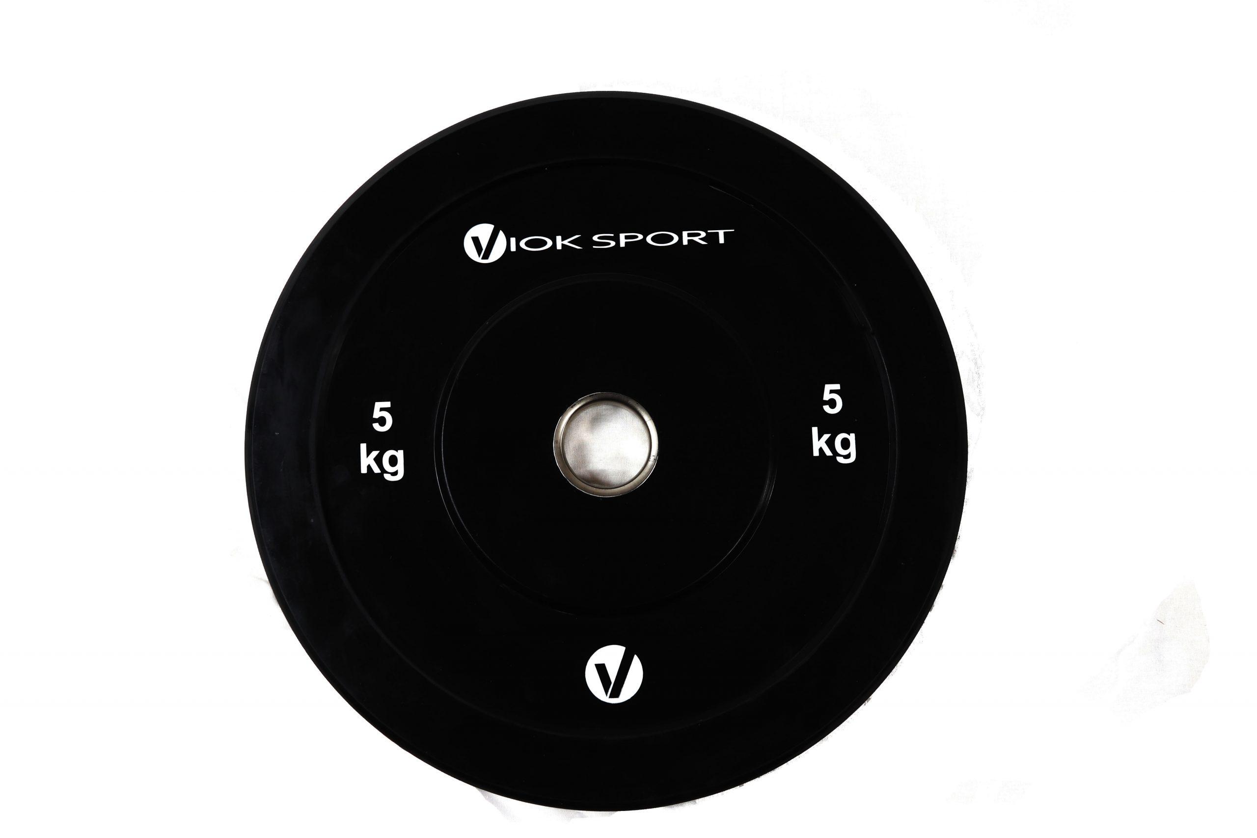Disco olímpico bumper negro de halterofilia 5 a 25 kg