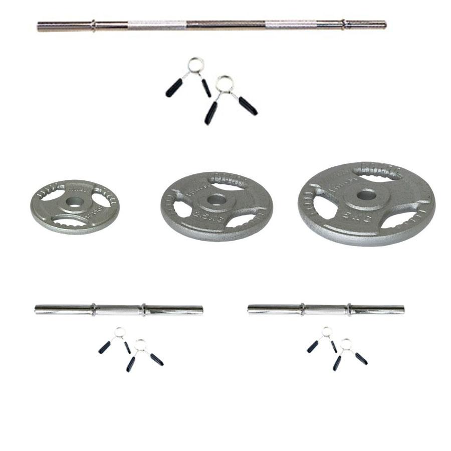 Kit de barra de 1.50m, mancuernas y discos de pesas