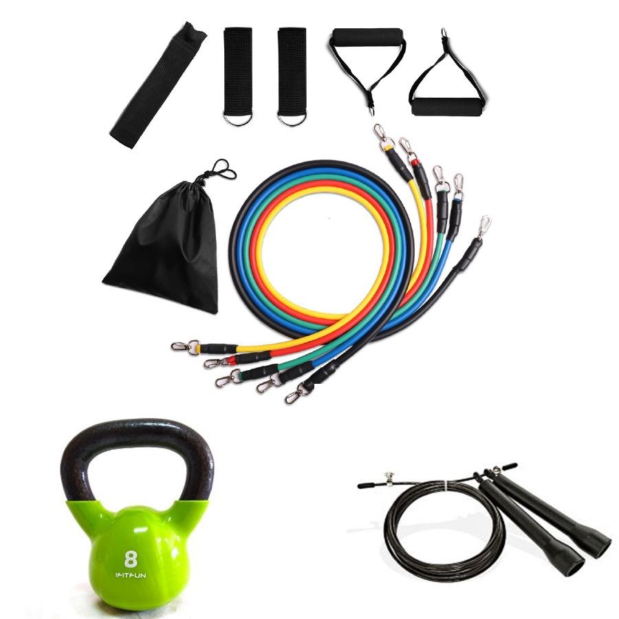 Kit de tubos de resistencia, kettlebell y comba